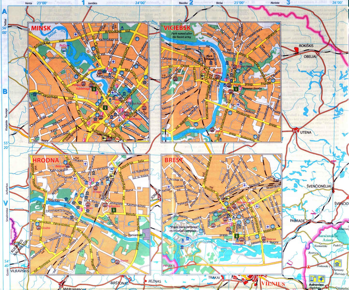 Belarus on map MINSK VITEBSK GRODNO BREST Belarus Tourist Map