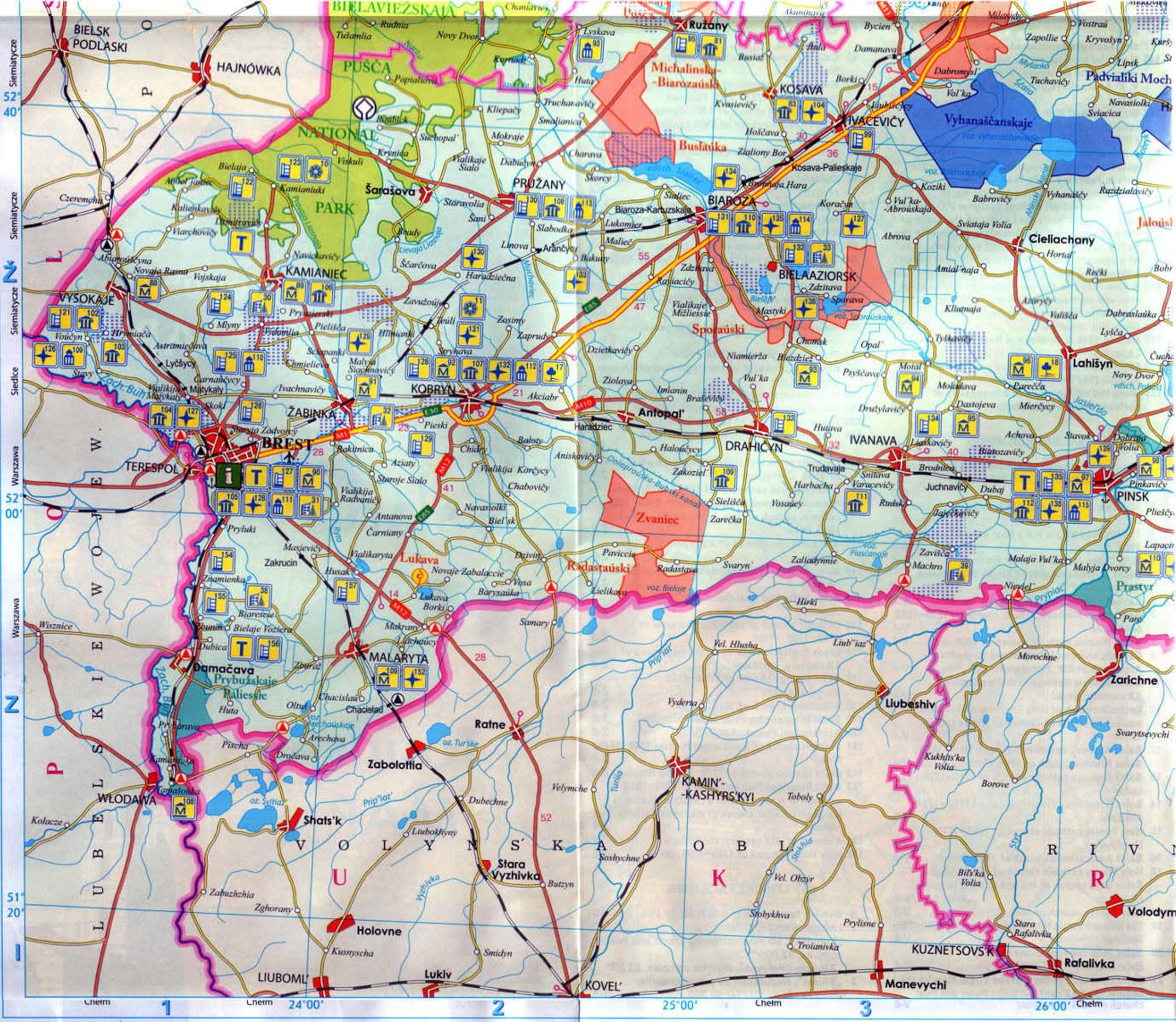 Belarus on map BELOVEGSKAYA PUSCHA BREST Kobrin Pinsk Kossovo