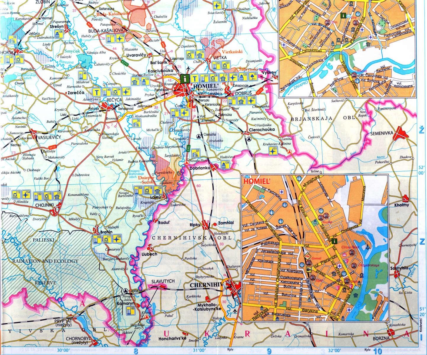 Belarus On Map GOMEL CHERNOBYL Bryanskaya Oblast Of Rassia - Belarus map